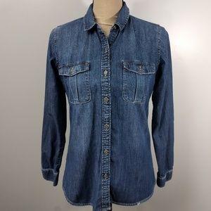 Zara Woman Denim Button Up Shirt Small Long Sleeve